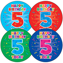Sheet of 35 Happy Birthday 5 Today 37mm Circular Stickers