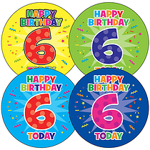 Sheet of 35 Happy Birthday 6 Today 37mm Circular Stickers