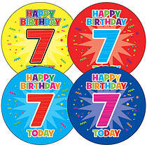 Sheet of 35 Happy Birthday 7 Today 37mm Circular Stickers