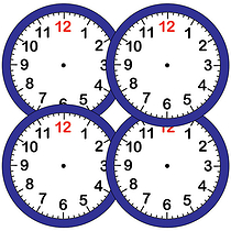 Sheet of 35 Clock Face 37mm Circular Stickers