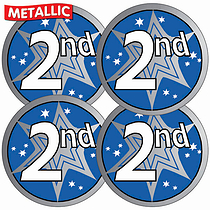 Sheet of 35 Second Metallic 37mm Circular Stickers