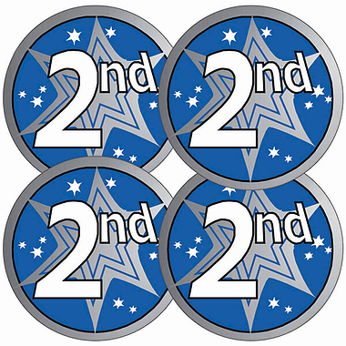 Metallic 2nd Place Stickers (37mm x 35)