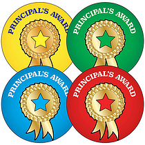 Sheet of 35 Mixed Principle's Award 37mm Circular Stickers