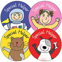 Sheet of 35 Pedagogs Special Helper 37mm Stickers
