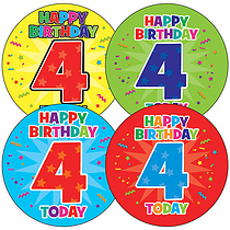 Sheet of 35 Happy Birthday 4 Today 37mm Circular Stickers