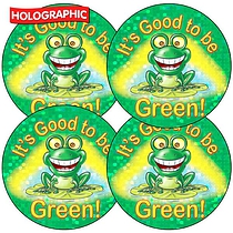 Sheet of 35 Good To Be Green Holographic Stickers