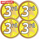 Sheet of 35 Third Metallic 37mm Circular Stickers