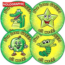 Sheet of 35 Green All Week Holographic Stickers