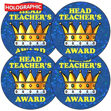 Holographic Head Teachers Award Crown Stickers (35 Stickers - 37mm)