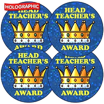 35 x Head Teachers Award Crown Sparkly Stickers