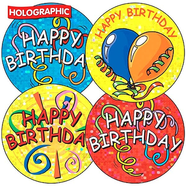 Holographic Happy Birthday Stickers (35 Stickers - 37mm)