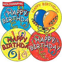 35 x Mixed Happy Birthday Sparkly Stickers