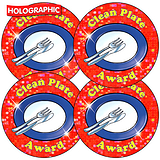 Holographic Clean Plate Award Stickers (35 Stickers - 37mm)