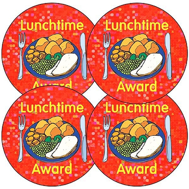 Holographic Lunchtime Award Stickers (35 Stickers - 37mm)