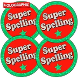 35 Super Spelling Holographic 37mm Circular Stickers