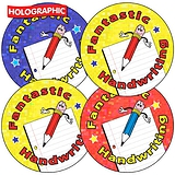 Holographic Fantastic Handwriting Stickers (35 Stickers - 37mm)