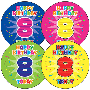 8th Birthday Stickers (35 Stickers - 37mm)