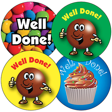 Mixed 'Well Done' 37mm Stickers x 35
