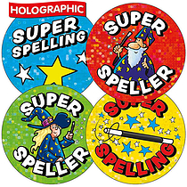 'Super Speller' Wizard Holographic 37mm Stickers x 35