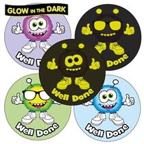 GLOW IN THE DARK Monster Stickers 37mm x 35
