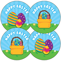 'Happy Easter' Eggs Stickers (35 x 37mm)