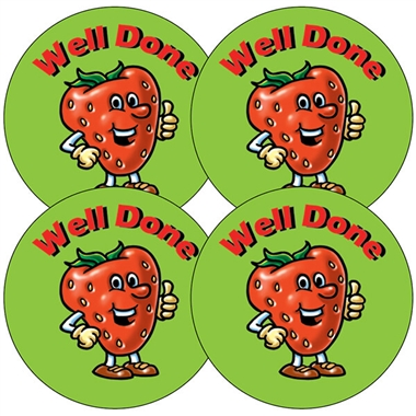 Well Done Stickers - Strawberry Design UNSCENTED (35 stickers - 37mm)
