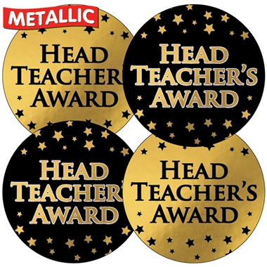 Metallic Head Teacher's Award Stickers (35 Stickers - 37mm)