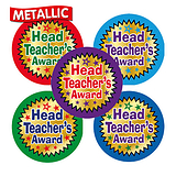 Metallic Head Teacher's Award Star Stickers (35 Stickers - 37mm) Brainwaves