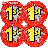 Holographic First Stickers (35 Stickers - 37mm)