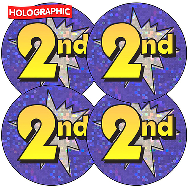 Holographic Second Stickers (35 Stickers - 37mm)
