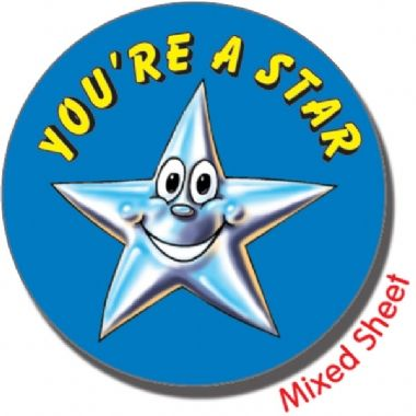 Sheet of 35 Mixed You're a Star 37mm Circular Stickers