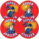 Sheet of 35 Mixed Super Speller 37mm Circular Stickers