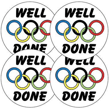 Sheet of 35 Well Done Rings 37mm Circular Stickers