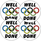 Sports Day Stickers - Well Done Rings (35 Stickers - 37mm)