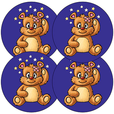 Sheet of 35 Teddy Bear Head Bump 37mm Circular Stickers