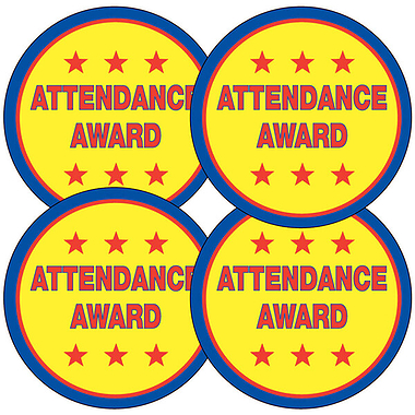 Sheet of 35 Attendance Award 37mm Circular Stickers