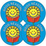 Sheet of 35 Good Reading Sunflower 37mm Circular Stickers