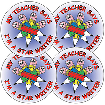 Sheet of 35 Star Writer 37mm Circular Stickers