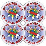 Sheet of 35 Star Writer 37mm Circular Stickers