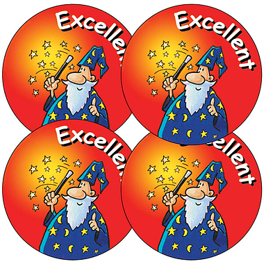 Sheet of 35 Excellent Wizard 37mm Circular Stickers