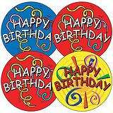 Happy Birthday Stickers - Streamers (35 Stickers - 37mm)