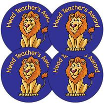 'Head Teacher's' Award Lion 37mm Stickers x 35