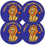 Sheet of 35 Head Teacher's Award Lion 37mm Circular Stickers