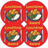 Sheet of 35 Lunchtime Award 37mm Circular Stickers