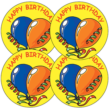Sheet of 35 Happy Birthday Balloons 37mm Circular Stickers