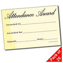 Attendance Award Certificates (Traditional A5) x 20