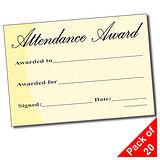 Pack of 20 Attendance Award A5 Certificates