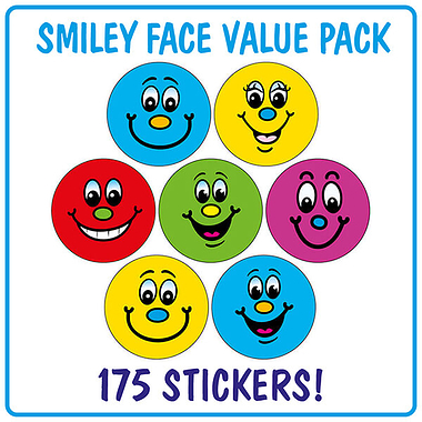 Smiley Face Dot Stickers (175 Stickers - 20mm) Brainwaves