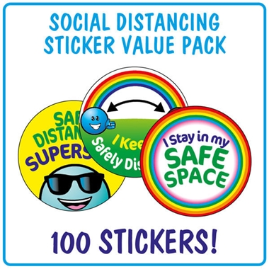 Social Distancing Stickers (100 Stickers - 32mm)
