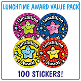 Lunchtime Award Stickers (100 Stickers - 32mm) Brainwaves